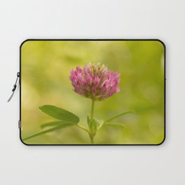 Red clover on green blur nature background #decor #society6 Laptop Sleeve