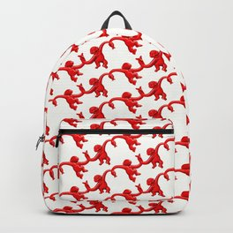 Monkey Toy Pattern - Red Backpack