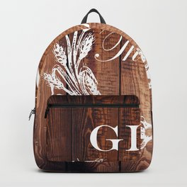 rustic western country barn wood farmhouse wheat wreath give thanks Backpack