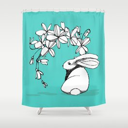 Happy Easter Bunny and Easter Flowers on Teal 1 Shower Curtain