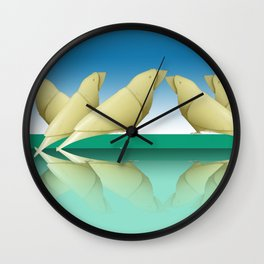 group of parrakeets Wall Clock