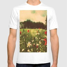 Poppies In Pilling  White SMALL Mens Fitted Tee