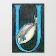 U is for Unicorn Fish Canvas Print