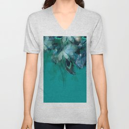 DREAMY FEATHERS & LEAVES - Deep Cyan Unisex V-Neck
