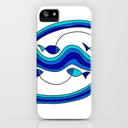 Fish and Waves Colored - Black Lines iPhone Case