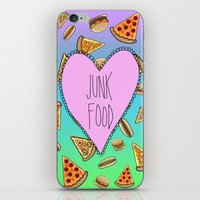junk food iPhone & iPod Skins featuring JUNK FOOD by SteffiMetal