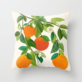 Oranges and Blossoms II / Tropical Fruit Illustration Throw Pillow