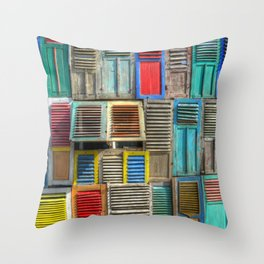 Colorful Shutters Beach Building Throw Pillow
