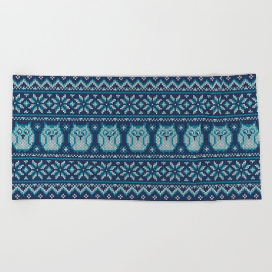 Owls winter knitted pattern Beach Towel