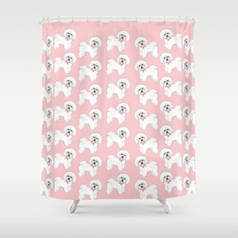Bichon Frise pink bows christmas holiday themed pattern print pet friendly dog breed gifts Shower Curtain