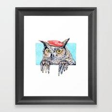 Serious Horned Owl in Red Beret  Framed Art Print