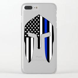 Spartan Helmet USA Flag Thin Blue Line Clear iPhone Case