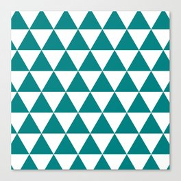 Triangles (Teal/White) Canvas Print