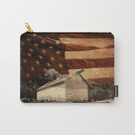 Rustic Barn Americana Heartland Farmhouse Country Flag Decor Art A464 Carry-All Pouch