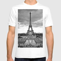 Eiffel Tower Mens Fitted Tee MEDIUM White