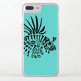 Poisson lion - turquoise Clear iPhone Case