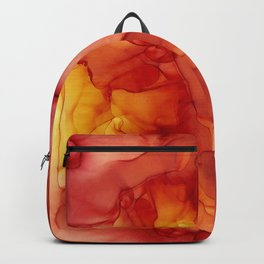 Red Sunset Abstract Ink Painting Red Orange Yellow Flame Backpack
