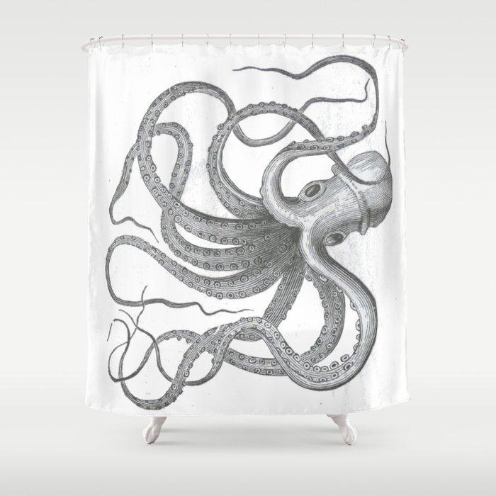 Vintage Nautical Steampunk Octopus Kraken Sea Monster Drawing Shower Curtain