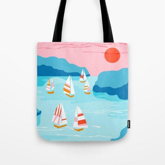 Tight - memphis throwback retro vintage classic sport boating yachting sailboat harbor sea ocean art Tote Bag