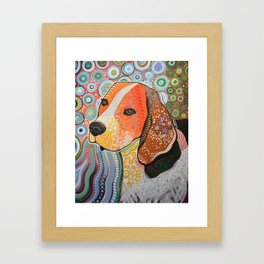 Rocky ... Abstract pet dog portrait art, Beagle Framed Art Print