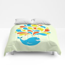 Colorful Swirls Happy Cartoon Whale Comforters