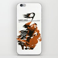 camus iPhone & iPod Skins featuring Albert Camus print by Adam Juresko