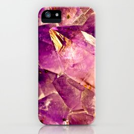 Golden Gleaming Amethyst Crystal iPhone Case