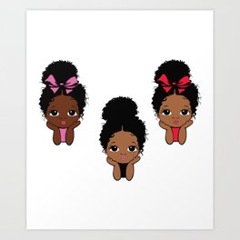 Peekaboo girl bundle, afro puff, princess design Art Print