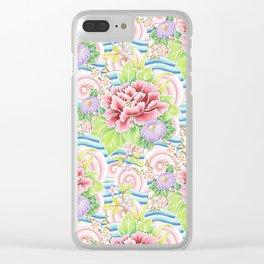 Pastel Kimono Bouquet Clear iPhone Case
