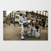 newspaper Canvas Prints featuring Newspaper Man by Rob Hawkins Photography