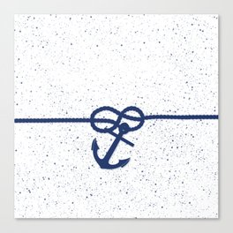 Nautical navy blue white anchor watercolor splatters Canvas Print