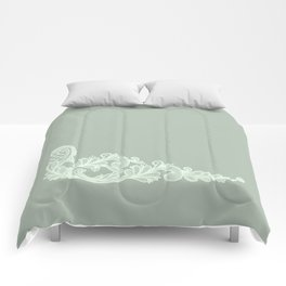 Flower Lace on Rustic Sage and Mint  Comforters