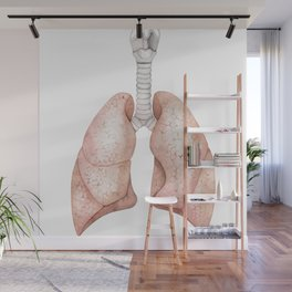 Watercolor anatomy collection - lungs Wall Mural
