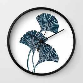 Abstract Watercolor Ginkgo Leaves  Wall Clock