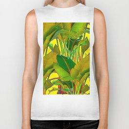 GOLDEN TROPICAL FOLIAGE GREEN & GOLD LEAVES AR Biker Tank