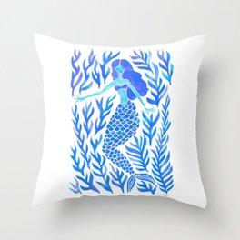 Kelp Forest Mermaid – Blue Palette Throw Pillow