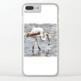 Knee Deep Flamingo Watercolor Clear iPhone Case