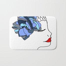 Blue Rose Headpiece Bath Mat