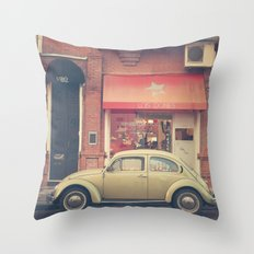 Beige Volkswagen Bug and a lovely Pink Shop (Vintage - Retro Urban Photography) Throw Pillow
