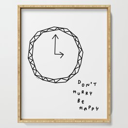 Be Happy - black and white illustration Serving Tray