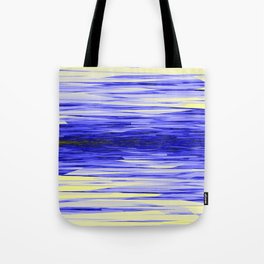Yellow and Blue Fractal Abstract Tote Bag