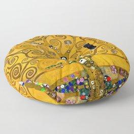 Gustav Klimt Tree Of Life Gold Version Floor Pillow
