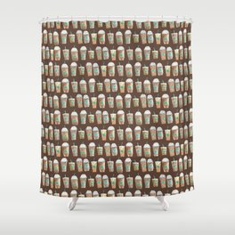 Coffee Cup Line Up in Expresso Brown Shower Curtain