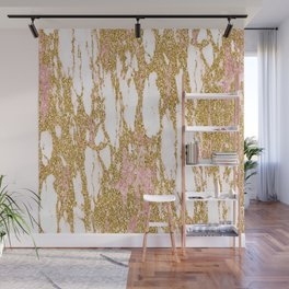 Gold Marble - Intense Glittery Yellow and Rose Gold Marble Wall Mural