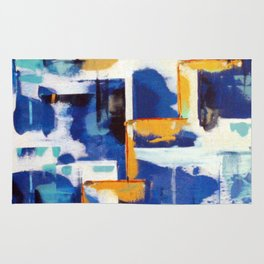 Stairway to Heaven: Abstract Acrylic Painting with blue and white and orange colors Rug