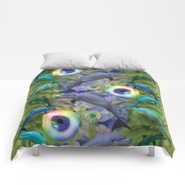 tropical dolphin delight Comforters