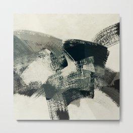 abstract art brush stroke beige teal black Metal Print