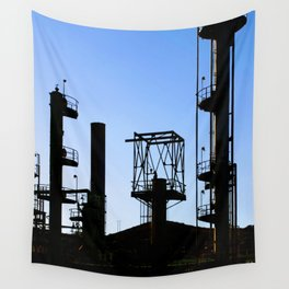Silhouette Oil Refinery In Ventura Wall Tapestry