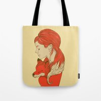 lady Tote Bags featuring Lady Fox by Huebucket