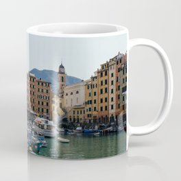 Pastel houses with colorful boats | Amalfi coast travel photography | Pastel sea side in, Italy | Art Print Coffee Mug